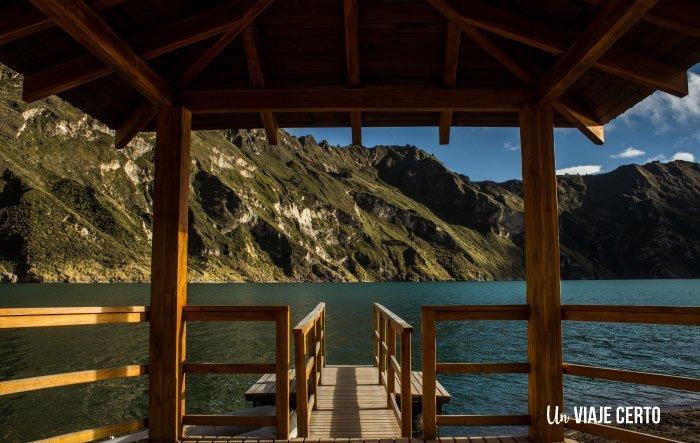 Laguna de Quilotoa desde el crater y vista desde el muelle