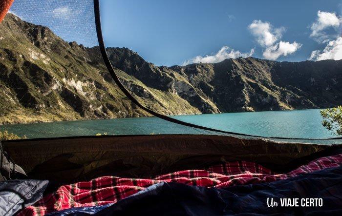 acampando en la laguna de Quilotoa
