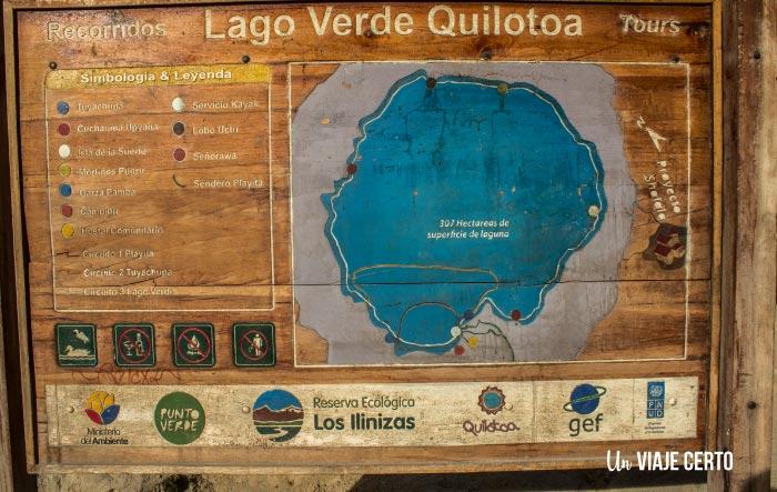 mapa de la laguna de Quilotoa con sus circuitos