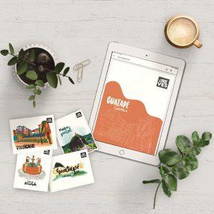 Guía de viaje digital de Guatapé y postales para imprimir