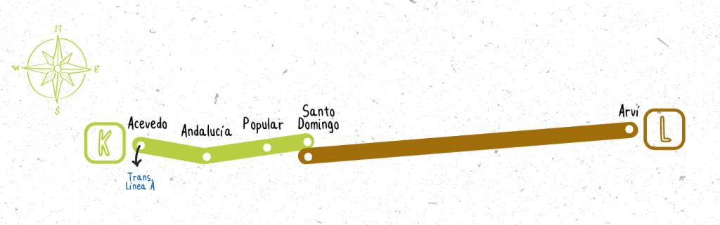 Línea k y l metro cable Medellí